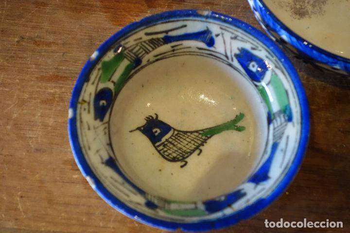 Antigüedades: Conjunto de 3 cuencos en cerámica granadina de Fajalauza (S.XIX?) cuenco lebrillo bol - Foto 2 - 81177624