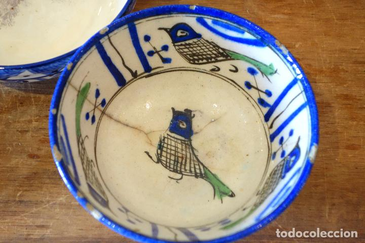 Antigüedades: Conjunto de 3 cuencos en cerámica granadina de Fajalauza (S.XIX?) cuenco lebrillo bol - Foto 3 - 81177624