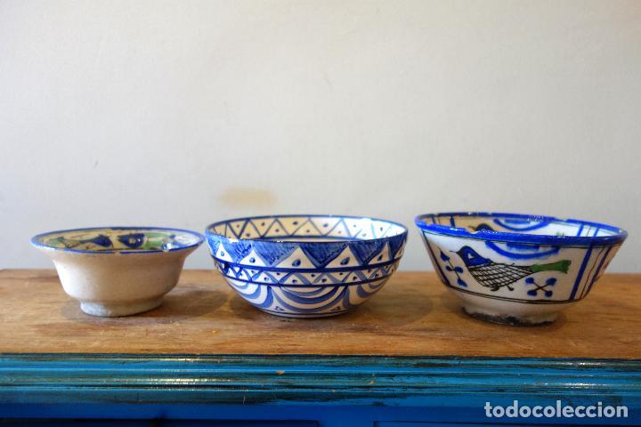 Antigüedades: Conjunto de 3 cuencos en cerámica granadina de Fajalauza (S.XIX?) cuenco lebrillo bol - Foto 4 - 81177624