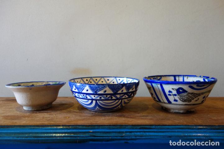 Antigüedades: Conjunto de 3 cuencos en cerámica granadina de Fajalauza (S.XIX?) cuenco lebrillo bol - Foto 5 - 81177624