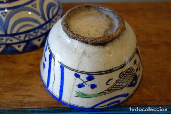 Antigüedades: Conjunto de 3 cuencos en cerámica granadina de Fajalauza (S.XIX?) cuenco lebrillo bol - Foto 8 - 81177624