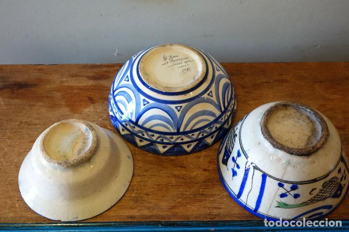 Antigüedades: Conjunto de 3 cuencos en cerámica granadina de Fajalauza (S.XIX?) cuenco lebrillo bol - Foto 9 - 81177624