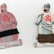 Antigüedades: DOS CARTONES PARA LANA, SEGURANTE PARA ZURCIR, CON LA IMAGEN DE EL CID CAMPEADOR. Lote 81183820