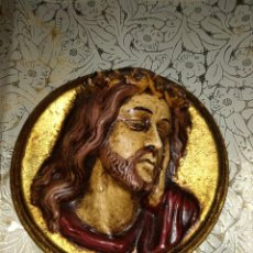 Antigüedades: PRECIOSO MESALLON CERAMICA ARTESANAL JESUCRISTO, PINTADO A MANO.. Lote 81220060