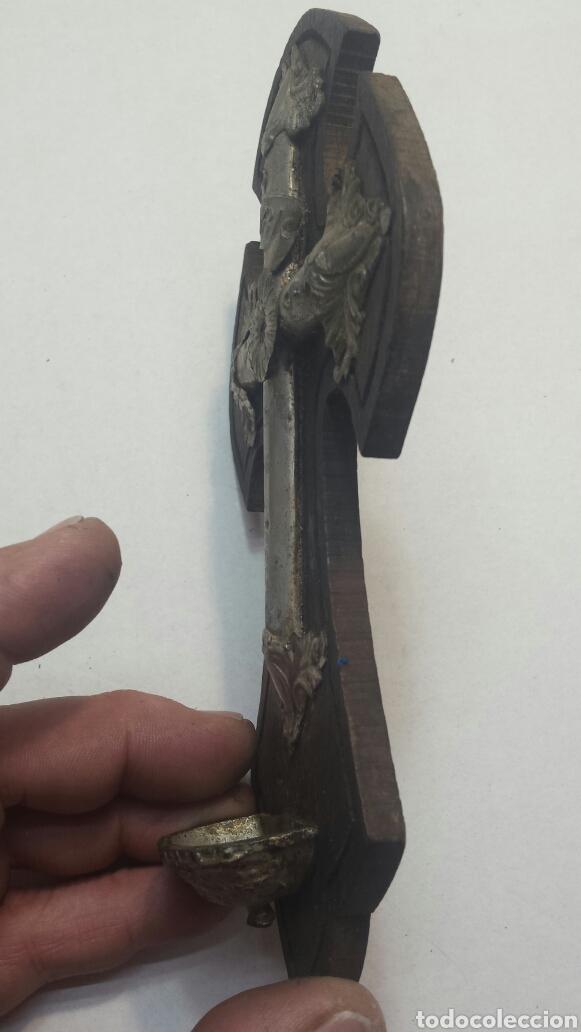 Antigüedades: Benditario muy antiguo de madera y metal años 1900 - Foto 4 - 81359328