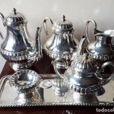 Antigüedades: JUEGO CAFE Y TÉ BAÑADO EN PLATA. ALPACA. Lote 61209199