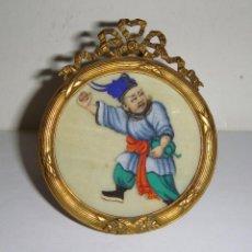 Antigüedades: GRACIOSA MINIATURA CHINA. S.XIX. PAPEL DE ARROZ PINTADO A MANO.. Lote 81527044