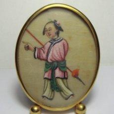Antigüedades: GRACIOSA MINIATURA CHINA. S.XIX. PAPEL DE ARROZ PINTADO A MANO.. Lote 81529904