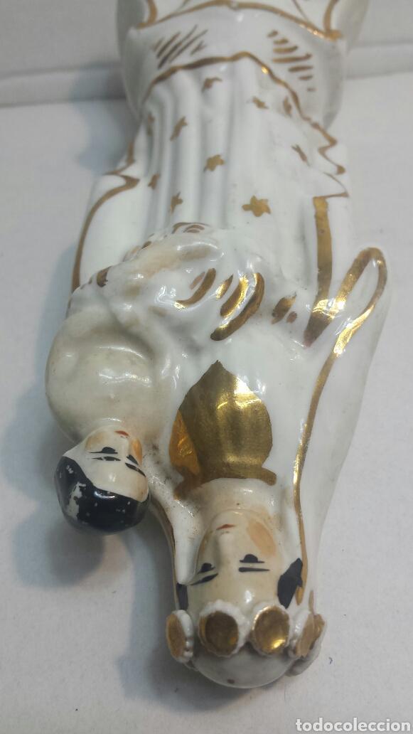 Antigüedades: Virgen Antigua de porcelana pintada a mano con esmalte de oro - Foto 4 - 81557115