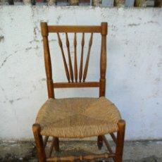 Antigüedades: SILLA CON ASIENTO DE ENEA - ANTIGUA. Lote 81564268