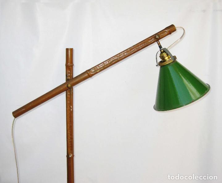 Antigüedades: EXCEPCIONAL LAMPARA DE ATELIER ANTIGUA INDUSTRIAL EN HIERRO FALSO BAMBU DECORACION VINTAGE - Foto 2 - 81566748