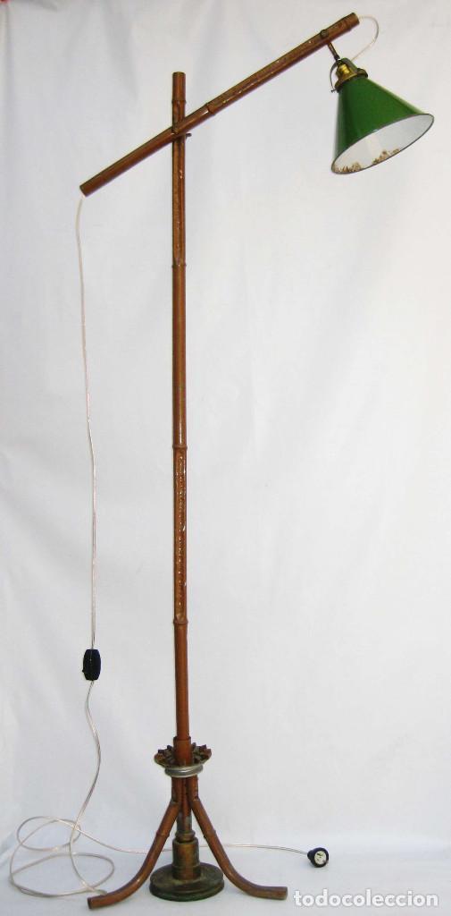 Antigüedades: EXCEPCIONAL LAMPARA DE ATELIER ANTIGUA INDUSTRIAL EN HIERRO FALSO BAMBU DECORACION VINTAGE - Foto 3 - 81566748