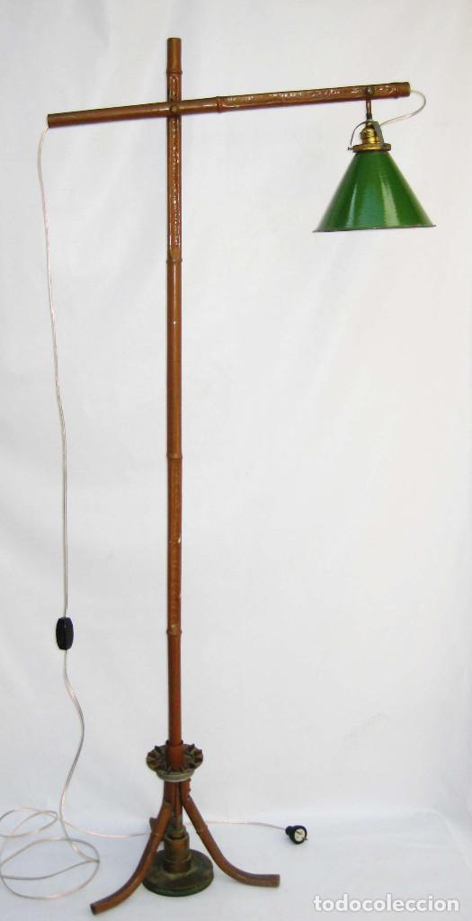 Antigüedades: EXCEPCIONAL LAMPARA DE ATELIER ANTIGUA INDUSTRIAL EN HIERRO FALSO BAMBU DECORACION VINTAGE - Foto 5 - 81566748