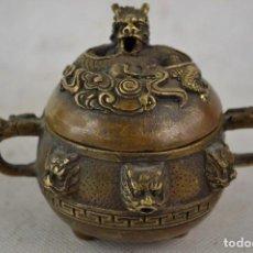 Antigüedades: PRECIOSO Y ANTIGUO INCENSARO , DRAGONES, BRONCE. Lote 81627472