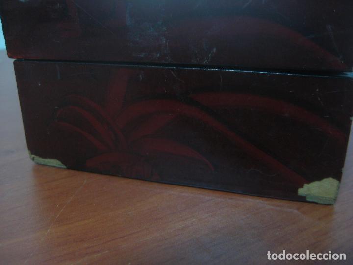 Antigüedades: CAJA JOYERO CON DIORAMA CENTRAL, ORIGEN CHINO, MADERA CON FIGURAS TALLADAS DE CORCHO Y NACAR,ANTIGUO - Foto 19 - 83280560