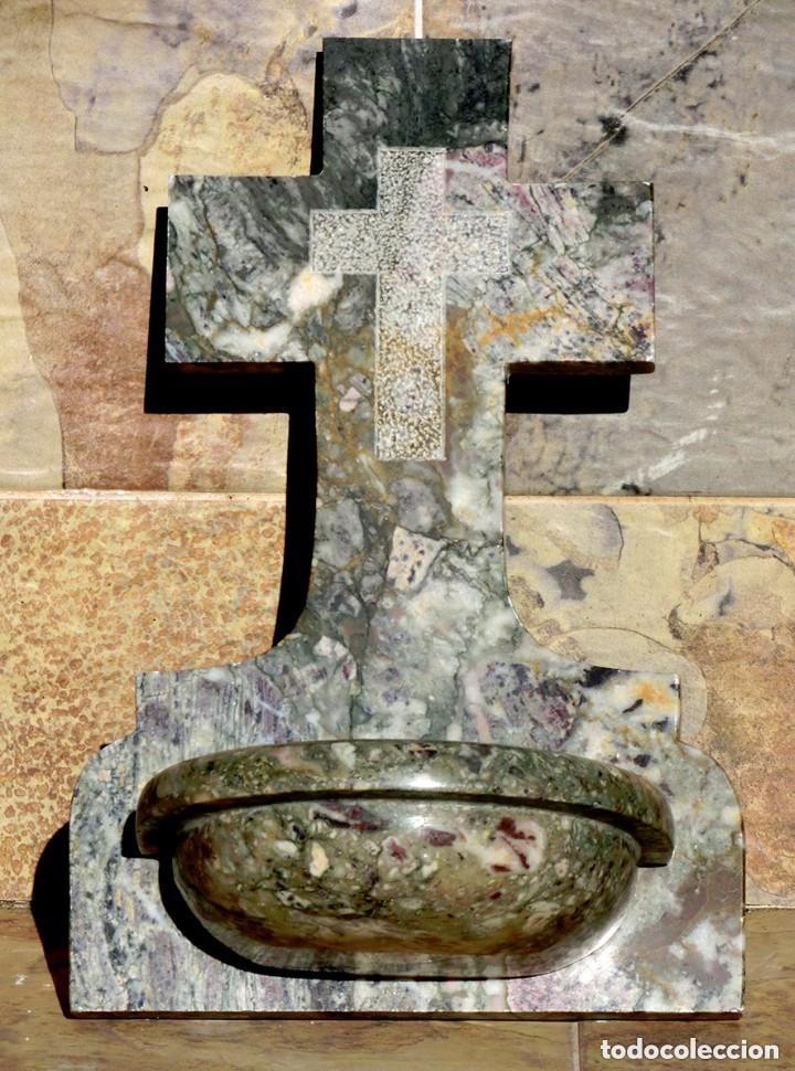 Antigüedades: PRECIOSA PILA DE MÁRMOL VETEADO - IGLESIA - BENDITERA - CAPILLA - AGUA BENDITA - PARA SANTIGUARSE - Foto 12 - 81690796