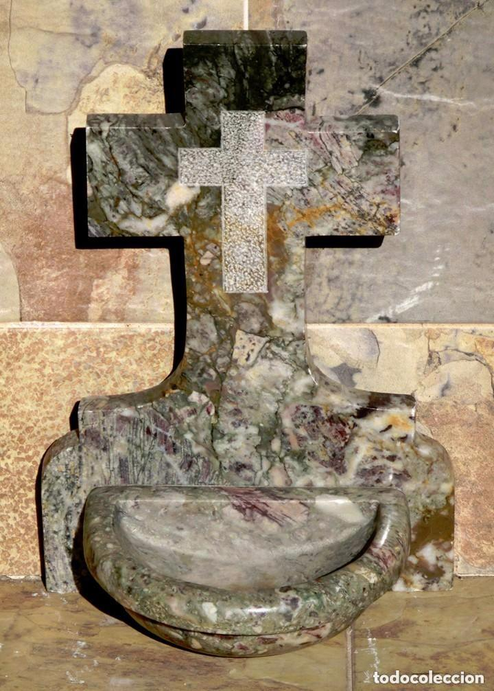 Antigüedades: PRECIOSA PILA DE MÁRMOL VETEADO - IGLESIA - BENDITERA - CAPILLA - AGUA BENDITA - PARA SANTIGUARSE - Foto 14 - 81690796