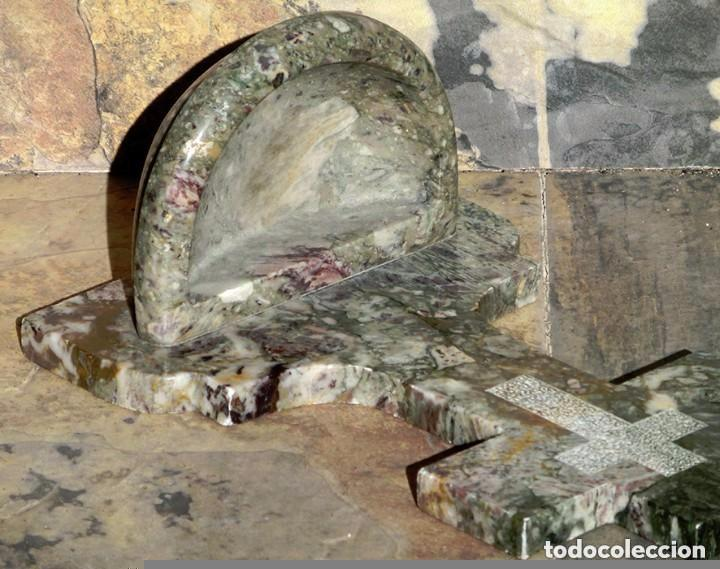 Antigüedades: PRECIOSA PILA DE MÁRMOL VETEADO - IGLESIA - BENDITERA - CAPILLA - AGUA BENDITA - PARA SANTIGUARSE - Foto 19 - 81690796