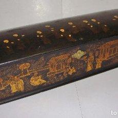 Antigüedades: ANTIGUA CAJA CHINA CON PERSONAJES. S.XIX. LACADA EN NEGRO Y CON DORADOS.. Lote 81695308