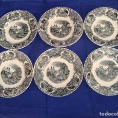 Antigüedades: 6 ANTIGUOS PLATOS DE LOZA DE MARIANO POLA GIJON. Lote 81698944
