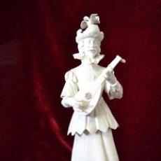 Antigüedades: FIGURA MUSICO SIGLO XVII EN PORCELANA ALGORA. Lote 81712540