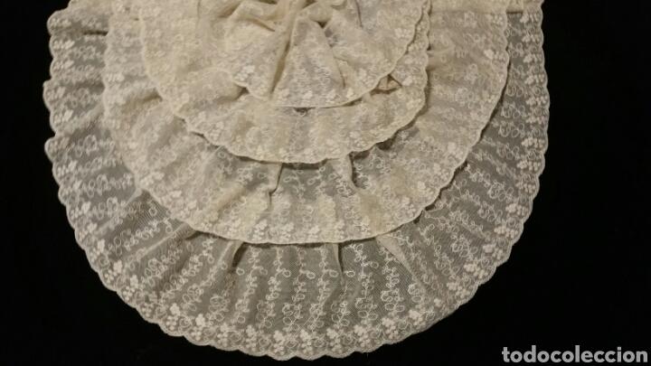 MAGISTRAL BLONDA ANTIGUA DE TUL BORDADO (Antigüedades - Moda - Encajes)