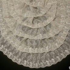 Antigüedades: ELEGANTE BLONDA ANTIGUA DE TUL BORDADO. Lote 81722070