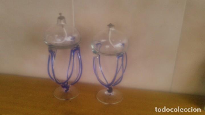 PRECIOSA PAREJA DE QUINQUES LAMPARAS DE MECHA DE CRISTAL,CON MECHA, (Antigüedades - Iluminación - Quinqués Antiguos)