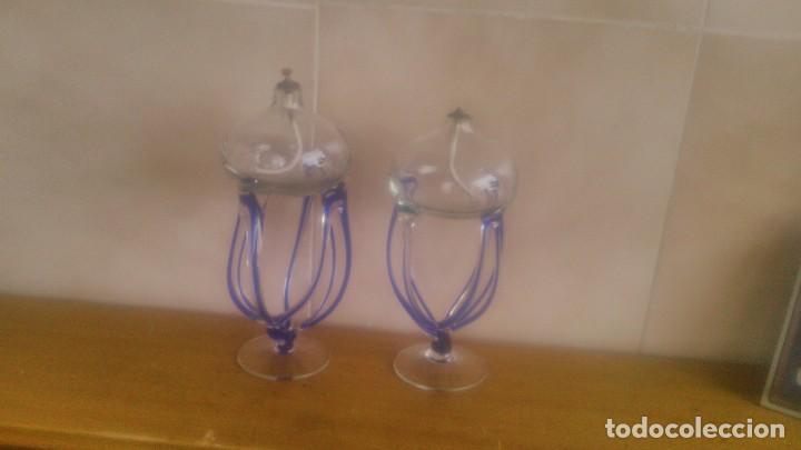 Antigüedades: Preciosa pareja de quinques lamparas de mecha de cristal,con mecha, - Foto 2 - 85960907