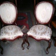 Antigüedades - Pareja de sillas isabelinas caoba - 81883304