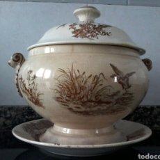 Antigüedades: SOPERA Y PLATO DE MARIANO POLA GIJON. Lote 81891080