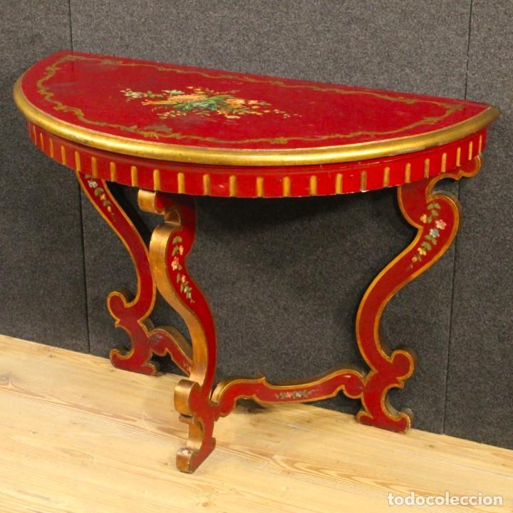 Antigüedades: Consola italiana lacada y pintada - Foto 2 - 81902772