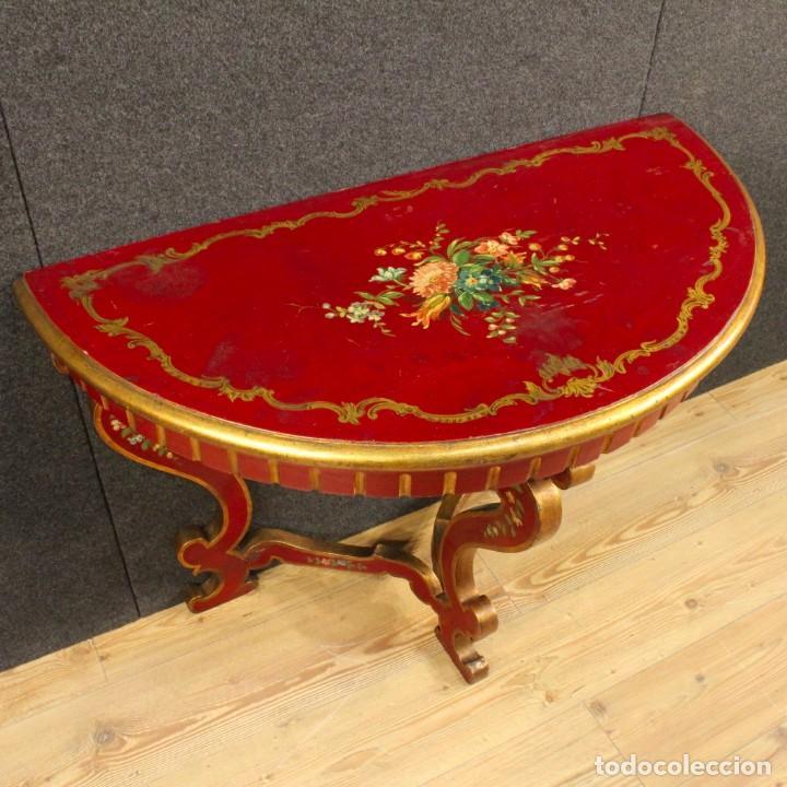 Antigüedades: Consola italiana lacada y pintada - Foto 3 - 81902772