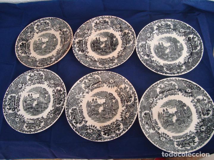 PLATOS PICKMAN S.A SEVILLA CARTUJA 1900 A 1965 LOTE DE 6 PLATOS LLANOS (Antigüedades - Porcelanas y Cerámicas - La Cartuja Pickman)