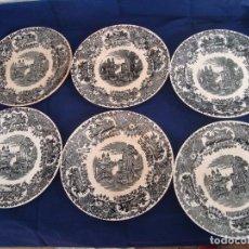 Antigüedades: PLATOS PICKMAN S.A SEVILLA CARTUJA 1900 A 1965 LOTE DE 6 PLATOS LLANOS. Lote 81915916