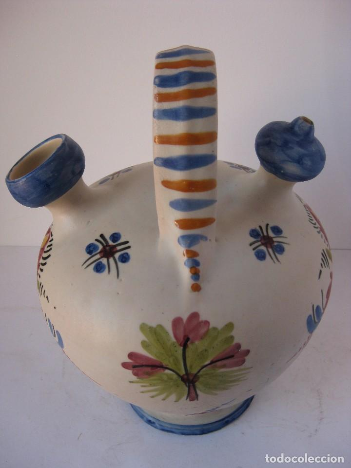 Antigüedades: Muy bonito botijo, de cerámica esmaltada cocida, de Talavera de la Reina. - Foto 4 - 81919400