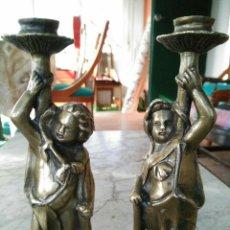 Antigüedades: PAREJA PORTAVELAS ANTIGUOS. Lote 81934966
