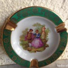 Antigüedades: BONITO CENICERO DE LIMOGES EN VERDE Y ORO. . Lote 81950412
