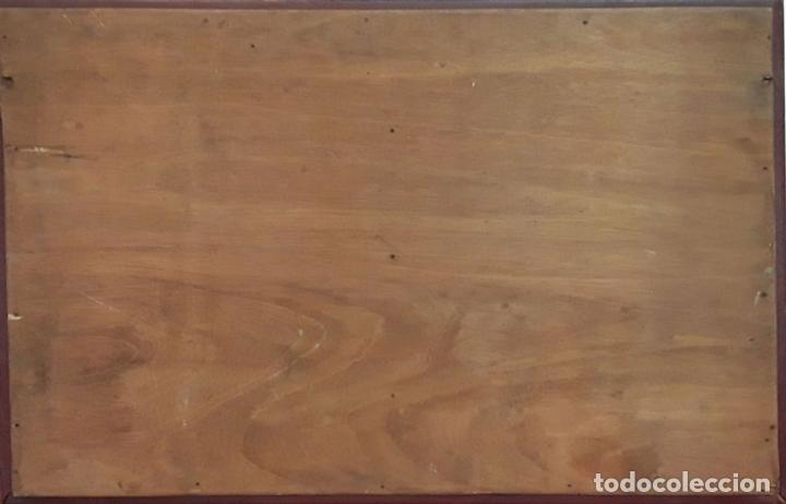 Antigüedades: MARCO DOBLE DE CUERO ROJIZO CON CENEFA DORADA. ESPAÑA. SIGLO XX (?) - Foto 8 - 81991540