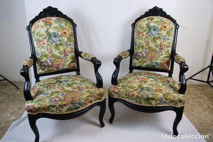Preciosa pareja de sillones estilo luis xv en m comprar - Sillones antiguos tapizados ...