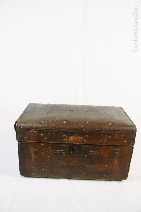ESPECTACULAR Y ÚNICO BAÚL DE CUERO FABRICADO EN NEW YORK POR LA CASA CROUCH & FITZGERALD - SIGLO XIX (Antigüedades - Muebles Antiguos - Baúles Antiguos)