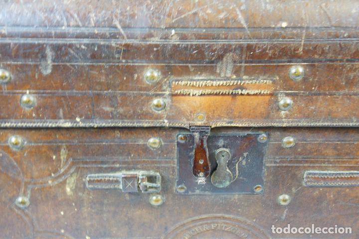 Antigüedades: ESPECTACULAR Y ÚNICO BAÚL DE CUERO FABRICADO EN NEW YORK POR LA CASA CROUCH & FITZGERALD - SIGLO XIX - Foto 3 - 82017528