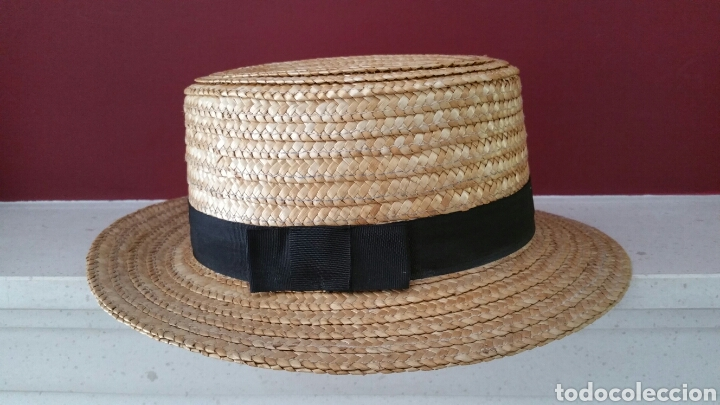 SOMBRERO CANOTIER PAJA. TALLA 57 (Antigüedades - Moda - Sombreros Antiguos)