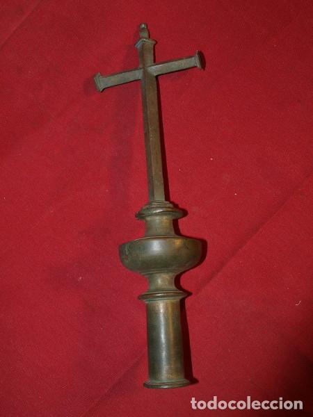 CRUZ PROCESIONAL. BRONCE. S XVIII. (Antigüedades - Religiosas - Cruces Antiguas)