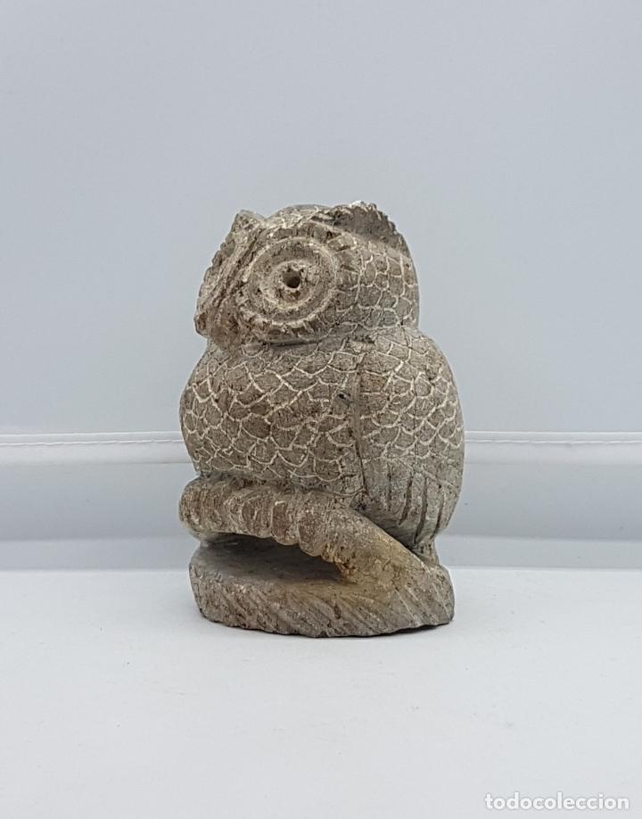 Antigüedades: Escultura antigua en piedra tallada a mano de búho de la suerte. - Foto 2 - 82176368