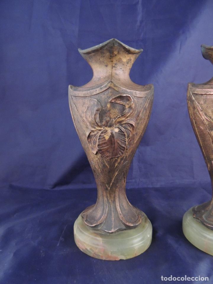 Antigüedades: PAREJA DE COPAS DE CALAMINA MODERNISTAS SOBRE MARMOL - Foto 3 - 82179360