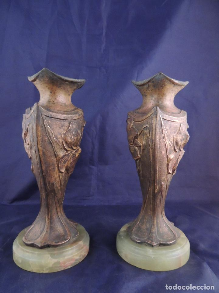Antigüedades: PAREJA DE COPAS DE CALAMINA MODERNISTAS SOBRE MARMOL - Foto 4 - 82179360