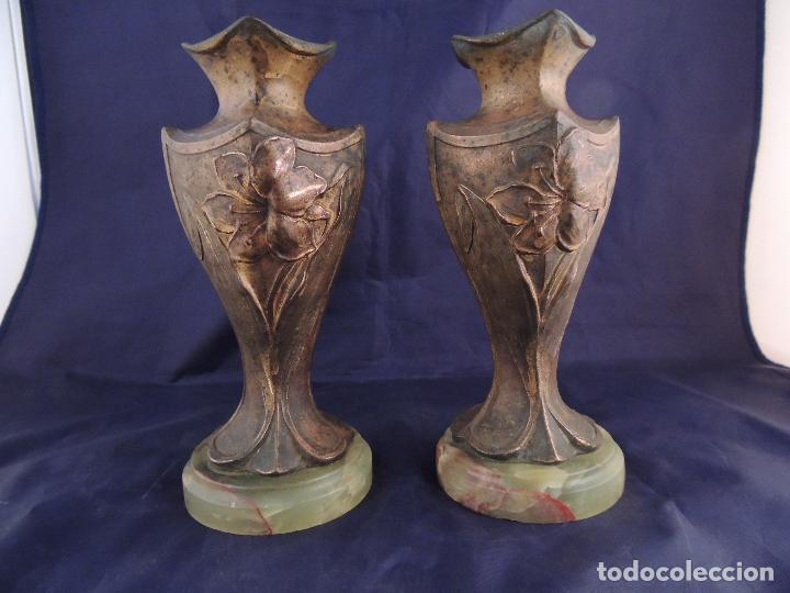 Antigüedades: PAREJA DE COPAS DE CALAMINA MODERNISTAS SOBRE MARMOL - Foto 5 - 82179360