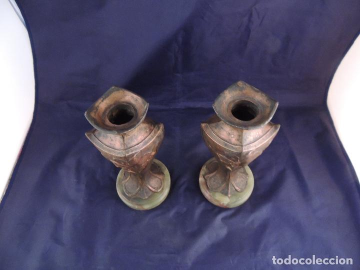 Antigüedades: PAREJA DE COPAS DE CALAMINA MODERNISTAS SOBRE MARMOL - Foto 7 - 82179360