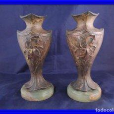 Antigüedades: PAREJA DE COPAS DE CALAMINA MODERNISTAS SOBRE MARMOL. Lote 82179360